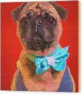 Colorful Dapper Pug Wood Print
