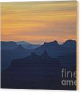 Colorful Dawn Sky Over Silhouetted Spires In Grand Canyon National Park Wood Print