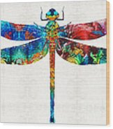 Colorful Dragonfly Art By Sharon Cummings Wood Print