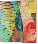 Colorful Elephant Art By Sharon Cummings Wood Print by Sharon Cummings
