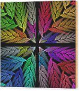 Colorful Feather Fern - 4 X 4 - Abstract - Fractal Art - Square Wood Print