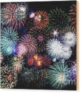 Colorful Fireworks Of Various Colors In Night Sky Wood Print