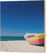 Colorful Fishing Boat Algarve Portugal Wood Print