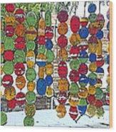 Colorful Fishing Floats Wood Print