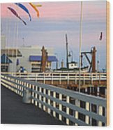 Colorful Flags And Wharf Wood Print by Debra Thompson
