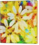 Colorful Floral Abstract - Digital Paint Wood Print
