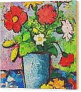 Colorful Flowers From My Garden Wood Print