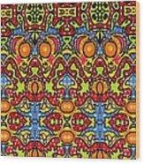 Colorful Folklore Pattern Wood Print