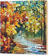 Colorful Forest - Palette Knife Oil Painting On Canvas By Leonid Afremov Wood Print