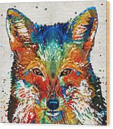 Colorful Fox Art - Foxi - By Sharon Cummings Wood Print