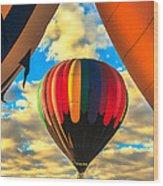 Colorful Framed Hot Air Balloon Wood Print by Robert Bales
