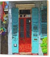 Colorful French Quarter Door  Wood Print
