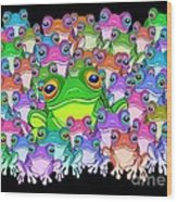 Colorful Froggy Family Wood Print