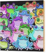 Colorful Frogs Wood Print