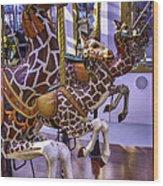 Colorful Giraffes Carrousel Wood Print