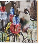 Colorful Glass And Metal Garden Ornaments Wood Print