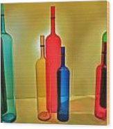 Colorful Glass Bottles Wood Print