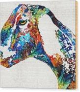 Colorful Goat Art By Sharon Cummings Wood Print