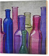 Colorful Group Of Bottles Wood Print
