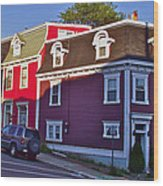 Colorful Homes In Saint John's-nl Wood Print