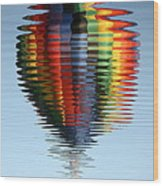 Colorful Hot Air Balloon Ripples Wood Print
