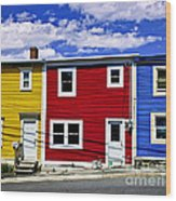 Colorful Houses In St. John's Newfoundland Wood Print by Elena Elisseeva
