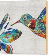 Colorful Hummingbird Art By Sharon Cummings Wood Print
