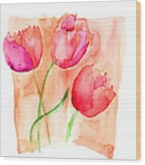 Colorful Illustration Of Red Tulips Flowers  Wood Print