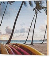 Colorful Kayaks On Beach In The Caribbean Wood Print