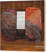 Colorful Knitting Yarn In A Wooden Box Wood Print