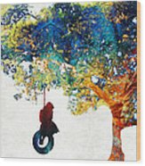 Colorful Landscape Art - The Dreaming Tree - By Sharon Cummings Wood Print