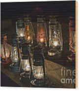 Colorful Lanterns At Night Wood Print