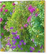 Colorful Large Hanging Flower Plants 3 Wood Print