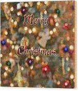 Colorful Lights Christmas Card Wood Print