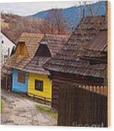Colorful Log Homes Wood Print