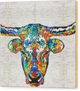 Colorful Longhorn Art By Sharon Cummings Wood Print