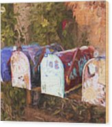 Colorful Mailboxes Santa Fe Painterly Effect Wood Print