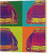 Colorful Mercedes Benz 300 Sl Convertible Popart Wood Print