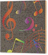 Colorful Musical Notes On Textured Background Illustration Wood Print
