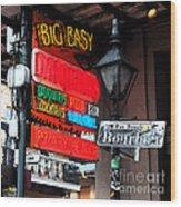 Colorful Neon Sign On Bourbon Street Corner French Quarter New Orleans Fresco Digital Art Wood Print