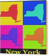 Colorful New York State Pop Art Map Wood Print