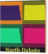 Colorful North Dakota Pop Art Map Wood Print
