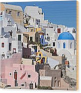 Colorful  Oia Wood Print