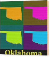 Colorful Oklahoma State Pop Art Map Wood Print