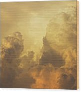 Colorful Orange Yellow Storm Clouds At Sunset  Wood Print
