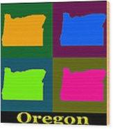 Colorful Oregon Pop Art Map Wood Print