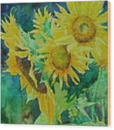 Colorful Original Sunflowers Flower Garden Art Artist K. Joann Russell Wood Print