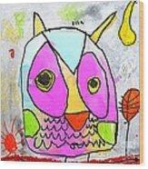 colorful Owl Wood Print