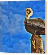 Colorful Pelican Wood Print