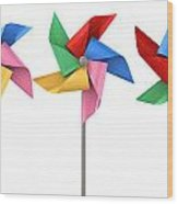Colorful Pinwheels Isolated Wood Print